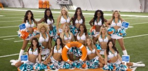 Miami Dolphins cheerleaders godmothers Norwegian Getaway image courtesy of NCL for use by ExpertCruiser